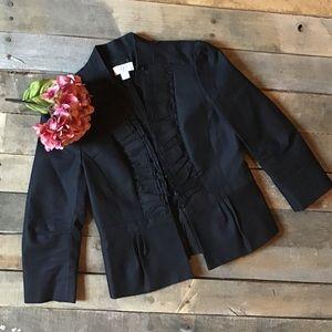 LOFT Black Ruffled Peplum Blazer